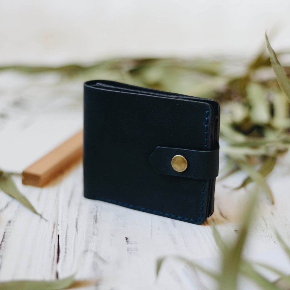 Blue Leather Bifold Wallet