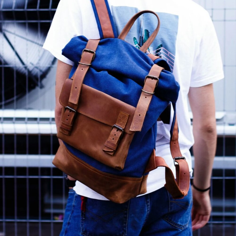 Travel Backpack in Cognac Leather