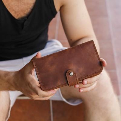 Long Cognac Leather Wallet