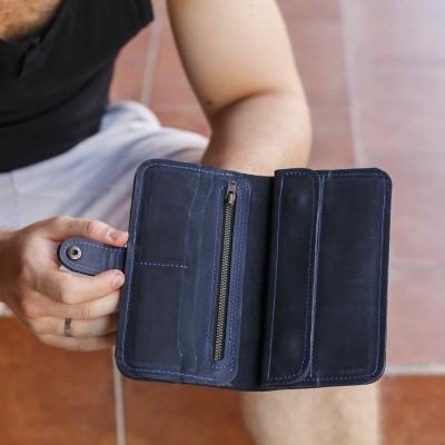 Long Blue Leather Wallet