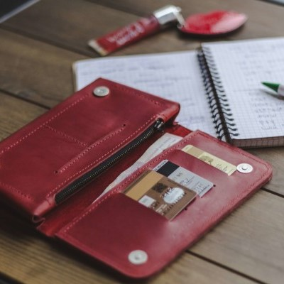Long Wallet in Red Leather