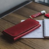 Women's Long Wallet in Red Leather