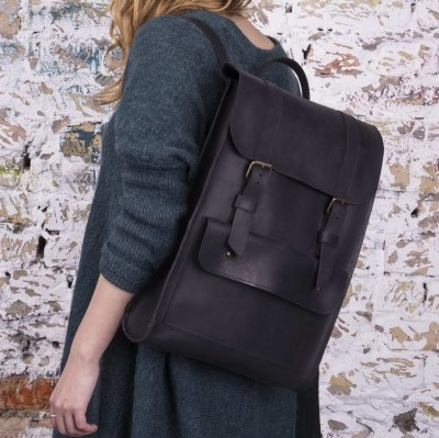 Brown Backpack with Strap Closures