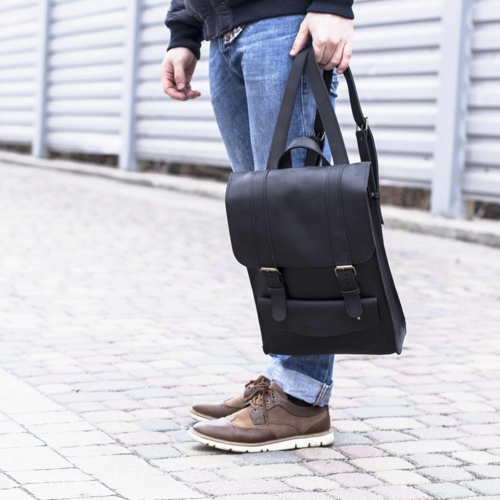 Black Backpack with Strap Closures