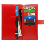 Glossy Red Bifold Wallet - 12 compartments