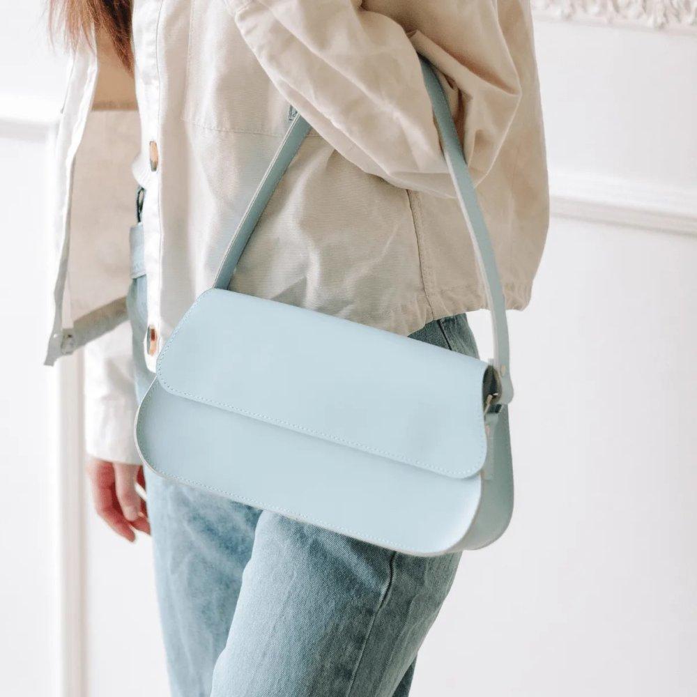 Light Blue Leather Baguette Bag