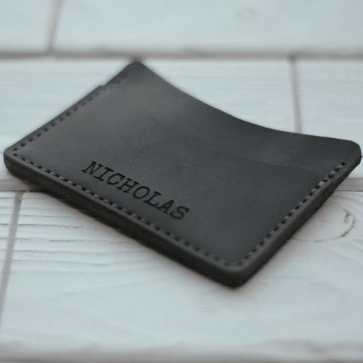 Gray Leather Card Holder