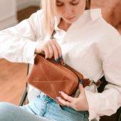 Cognac Leather Hip Bag