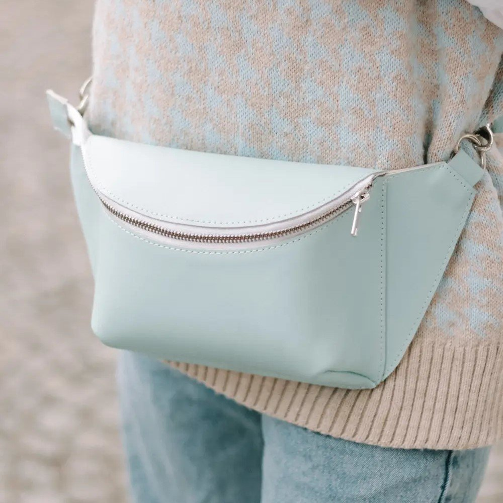 Light Blue Leather Fanny Pack