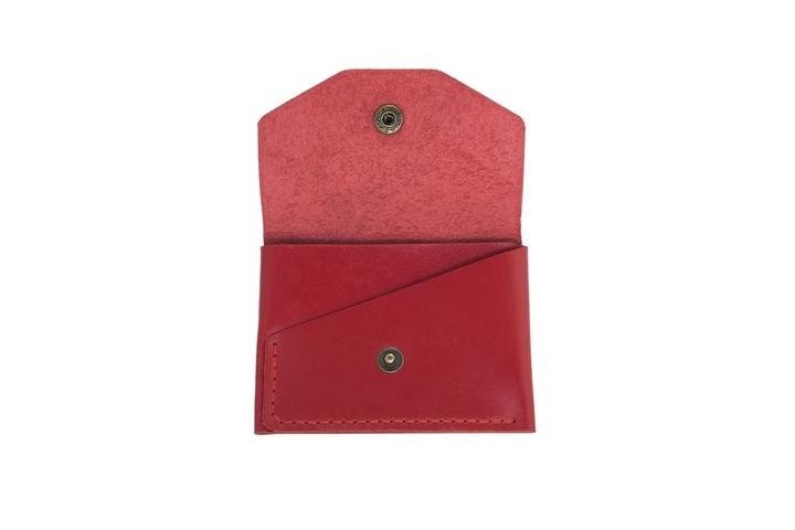 Glossy Red Leather Card Holder