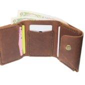 Cognac Triple Leather Mini Wallet