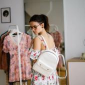 Stylish Mini Leather Backpack White