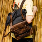 Travel Backpack in Brown Leather