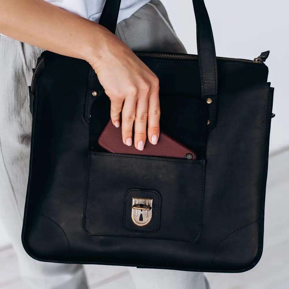 Black Tote Handbag with Buckle