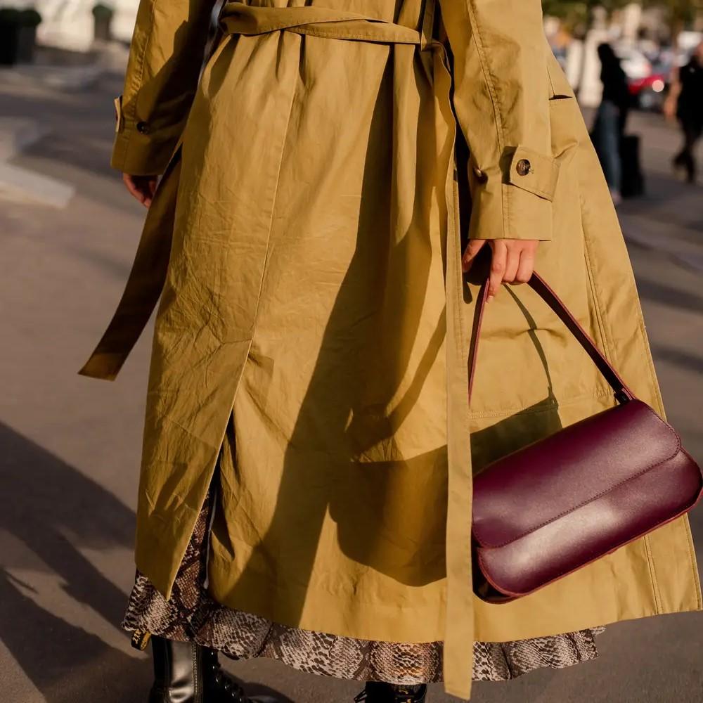 Marsala Leather Baguette Bag