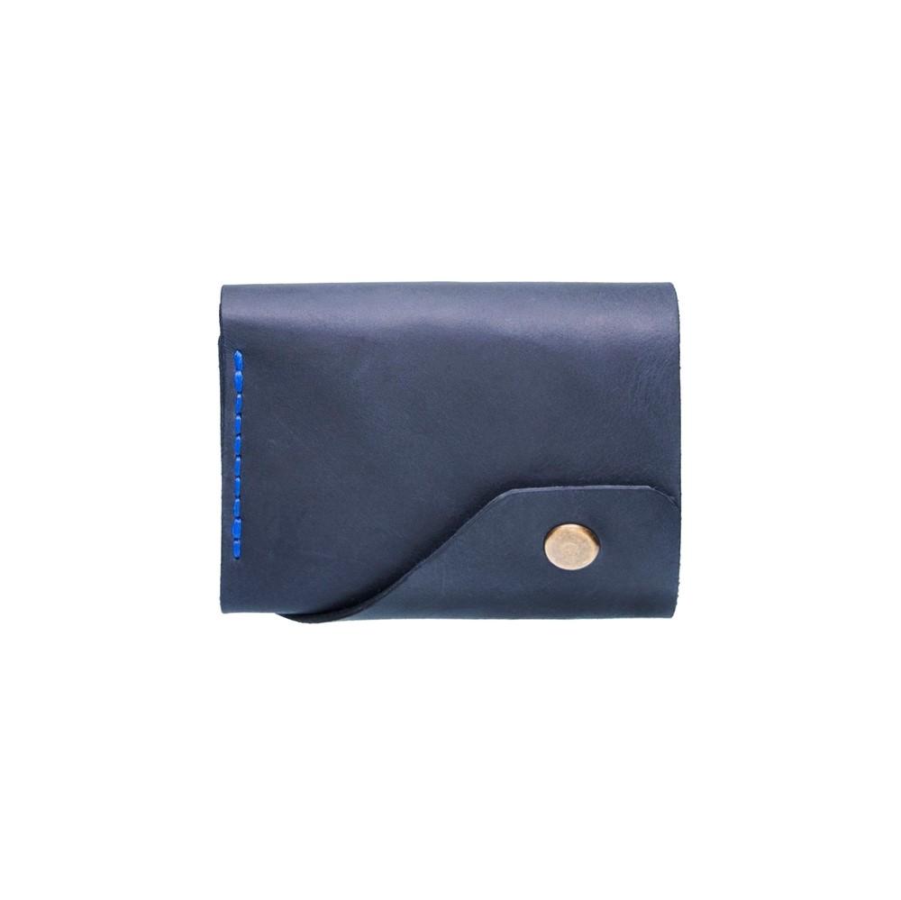 Blue Triple Leather Mini Wallet