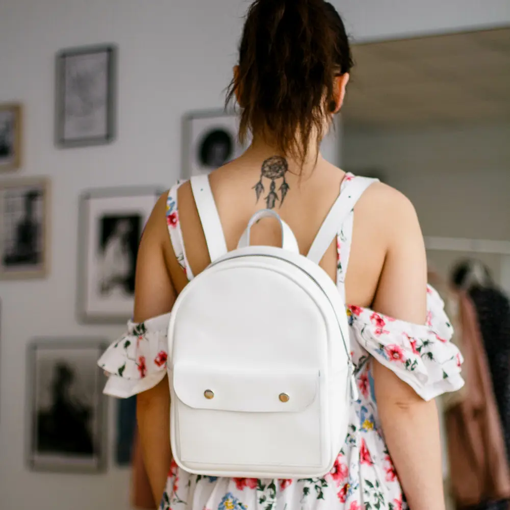 Leather Backpack White