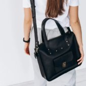 Black Leather Tote Handbag with Buckle