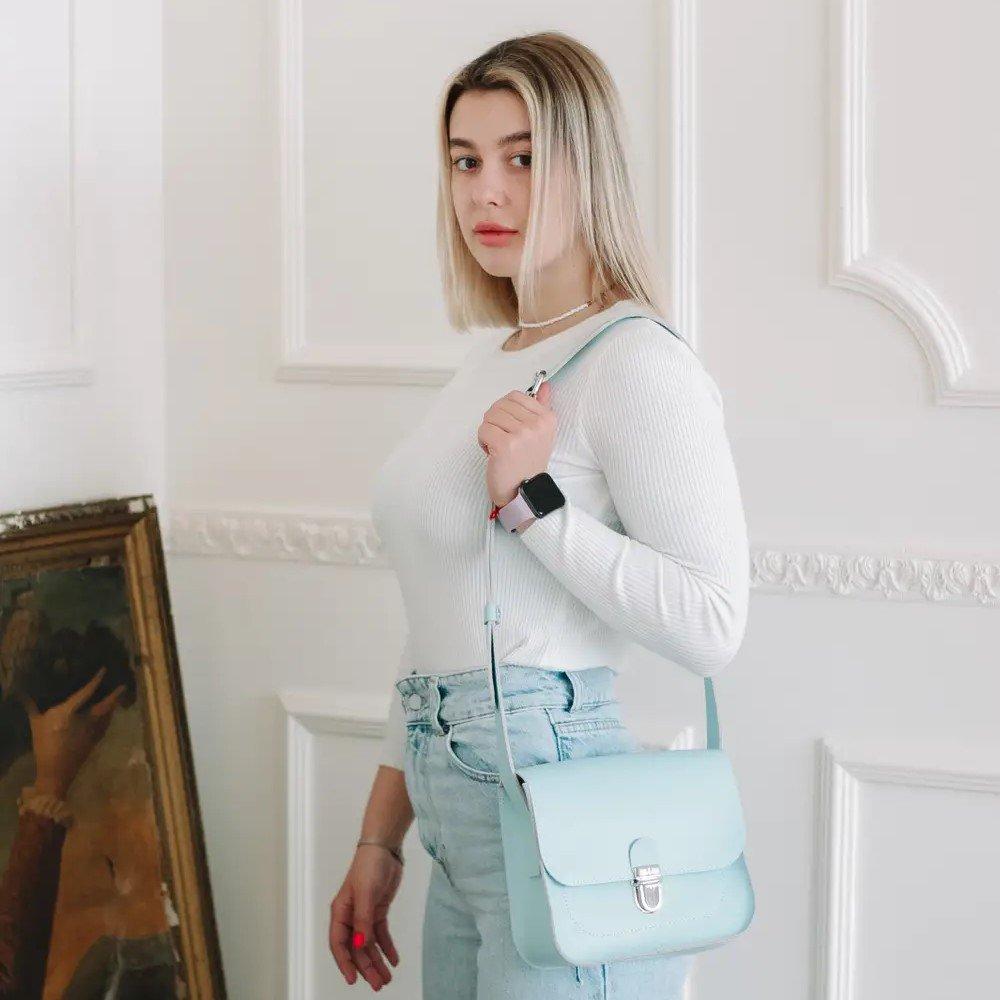 Light Blue Cross Body Bag with Buckle