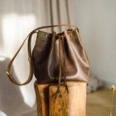 Brown Leather Bucket Bag