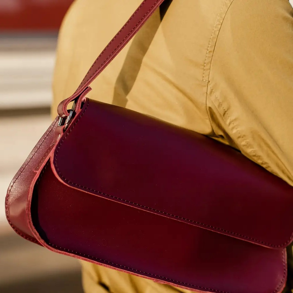 Glossy Marsala Leather Baguette Bag