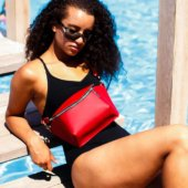 Glossy Red Leather Fanny Pack