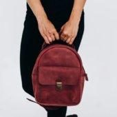 Women's Marsala Mini Leather Backpack