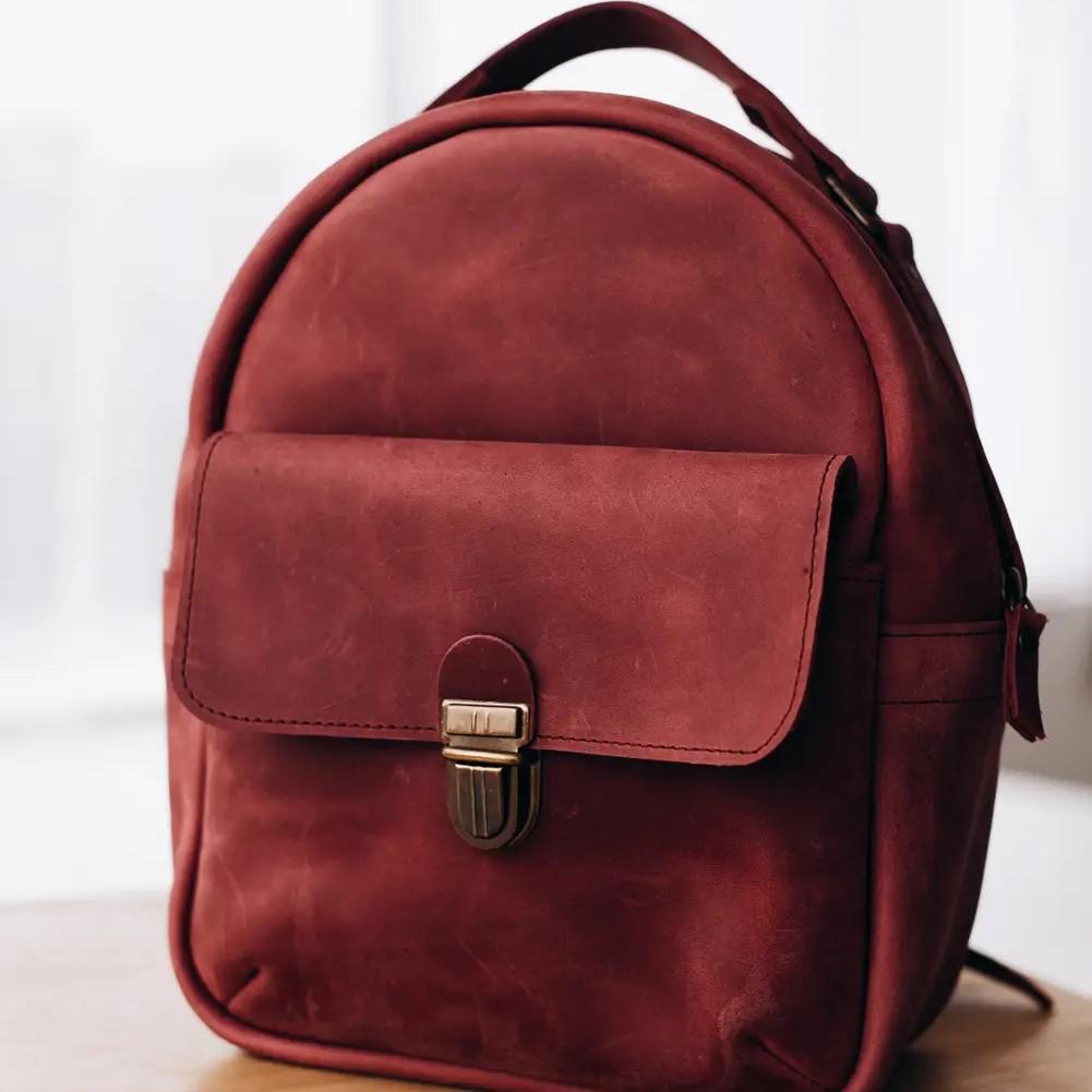 Marsala Mini Leather Backpack