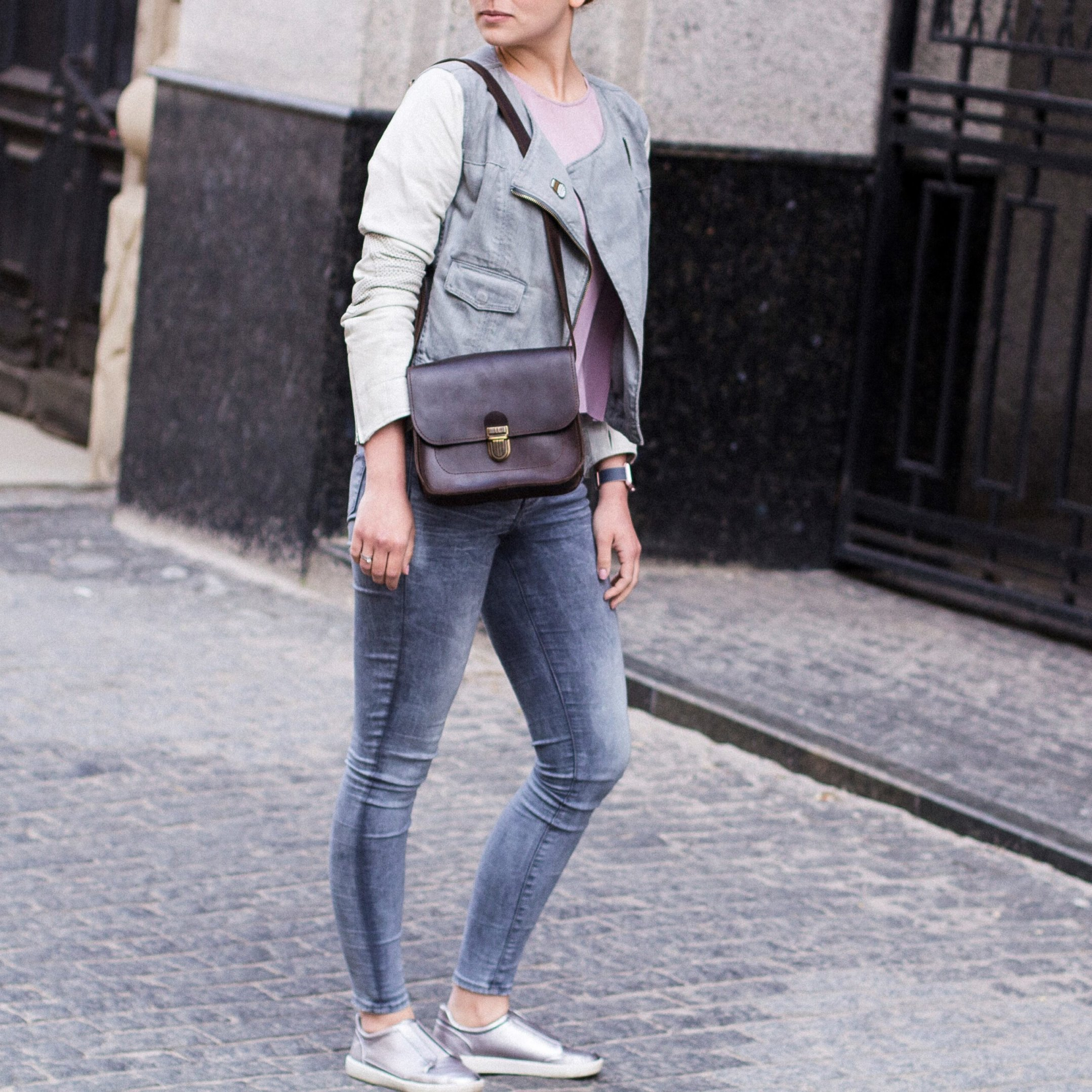Brown Cross Body Bag with Buckle