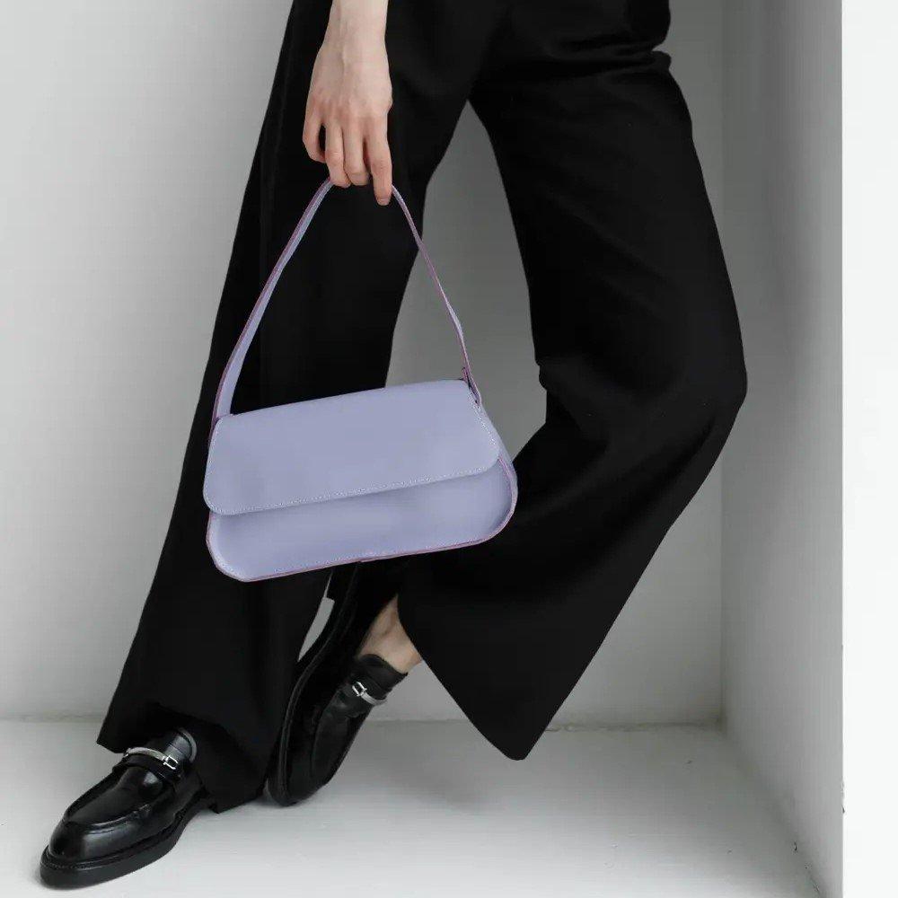 Purple Leather Baguette Bag