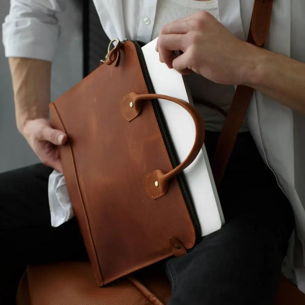 Cognac Leather MacBook Bag