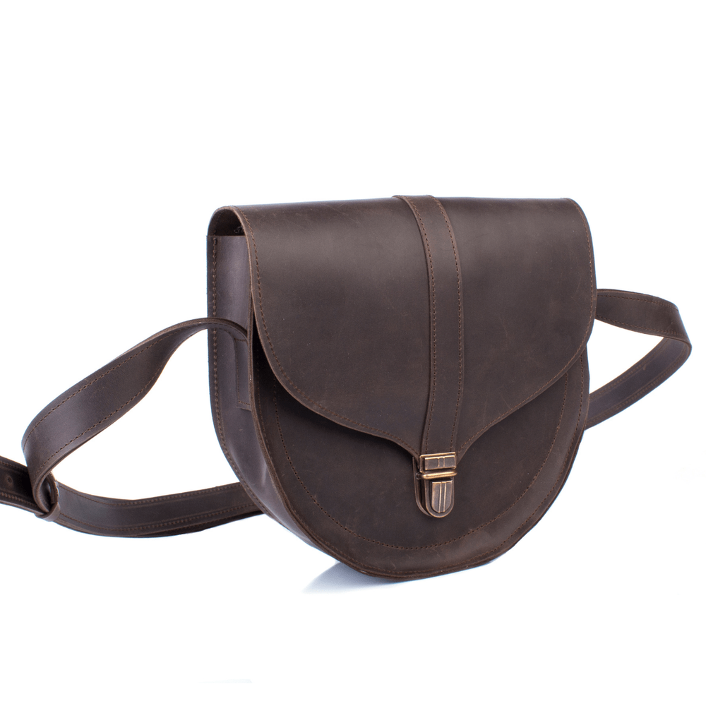 Mini Brown Leather Cross Body Bag with Buckle
