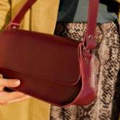 Glossy Marsala Baguette Bag