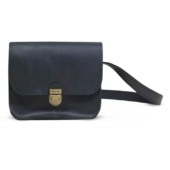 Black Leather Cross Body Bag with Buckle