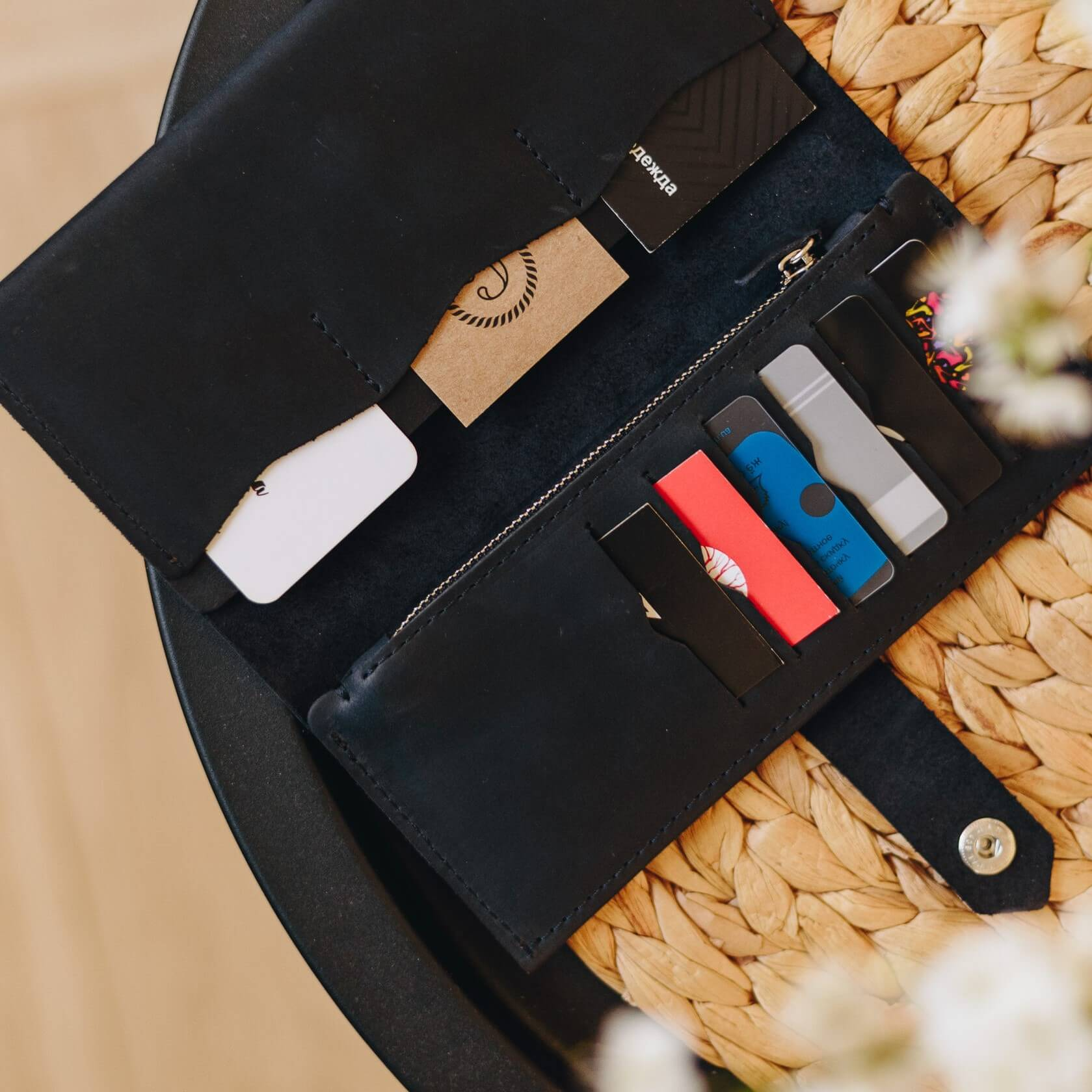 Black Bifold Wallet - 12 compartments