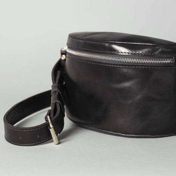Glossy Black Leather Hip Bag