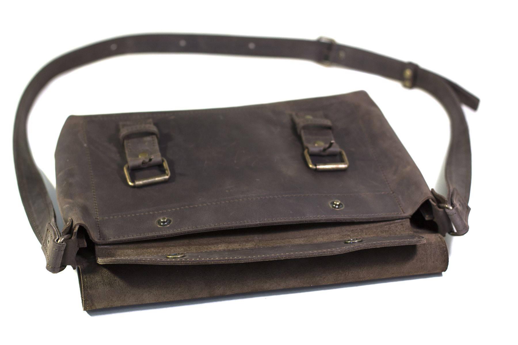 Dark Brown Leather Cross Body Bag
