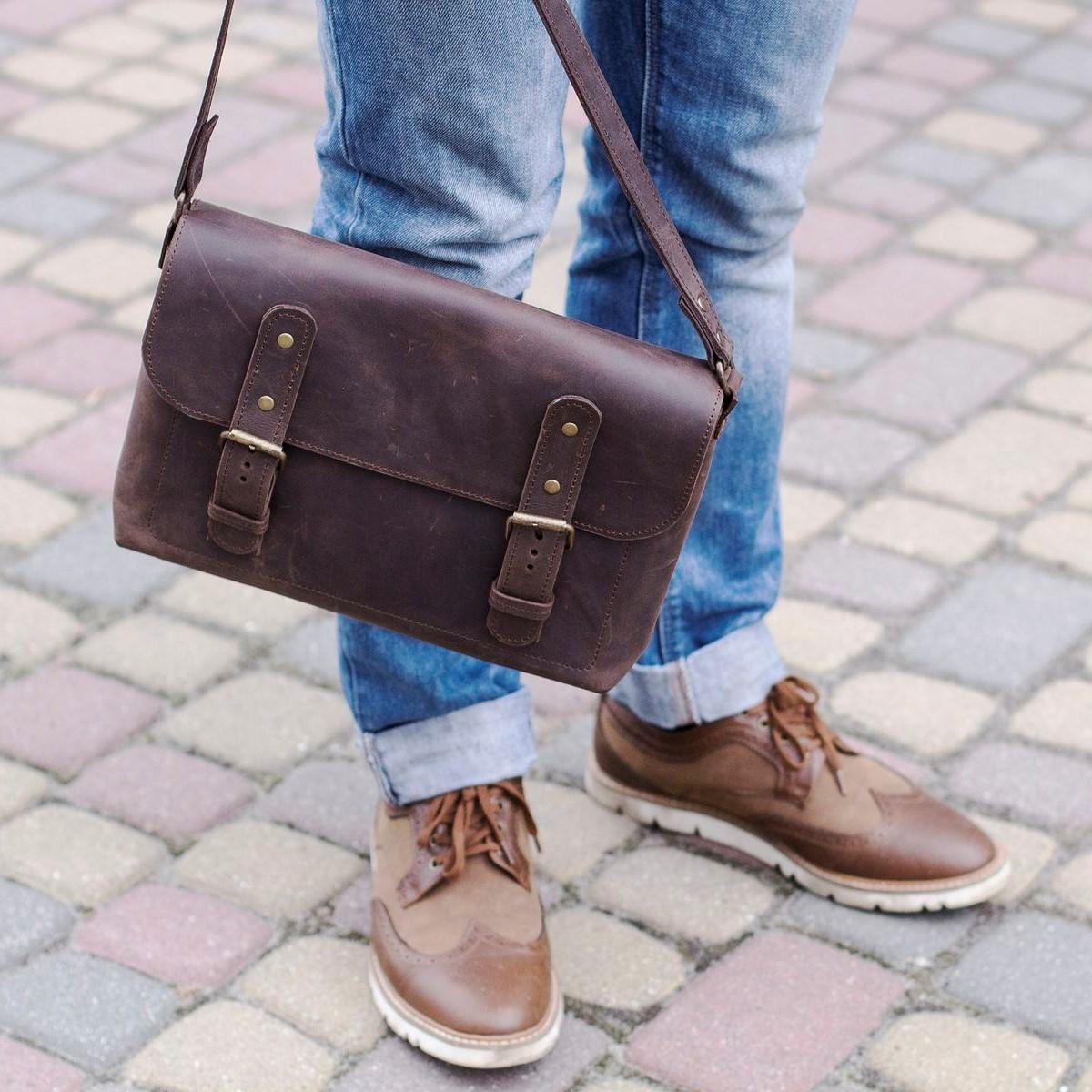 Full Grain Dark Brown Cross Body Bag