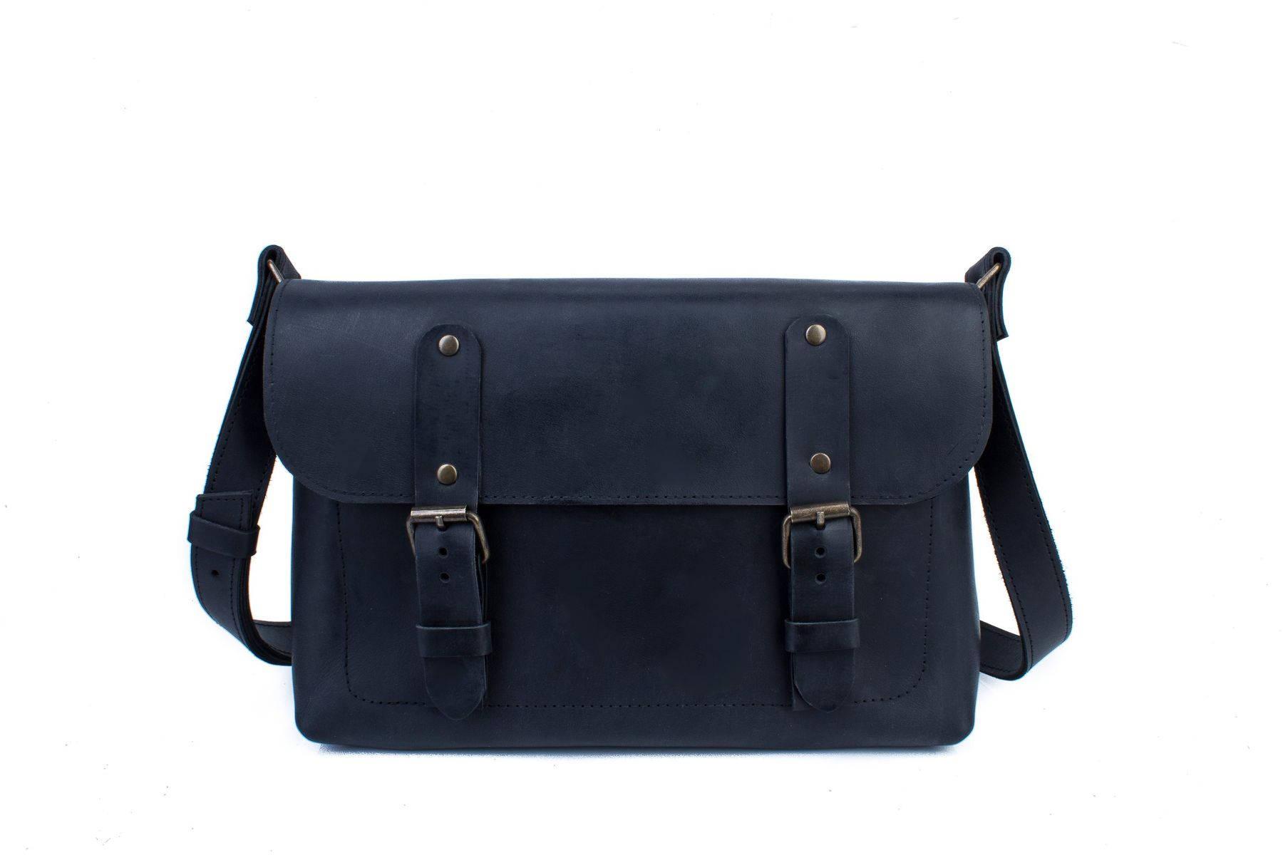 Full Grain Black Cross Body Bag