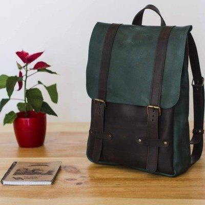 Two-Colored Green and Brown Backpack