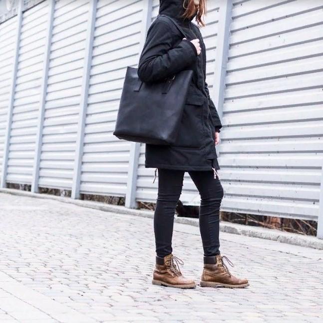 Black Full Grain Leather Tote Bag