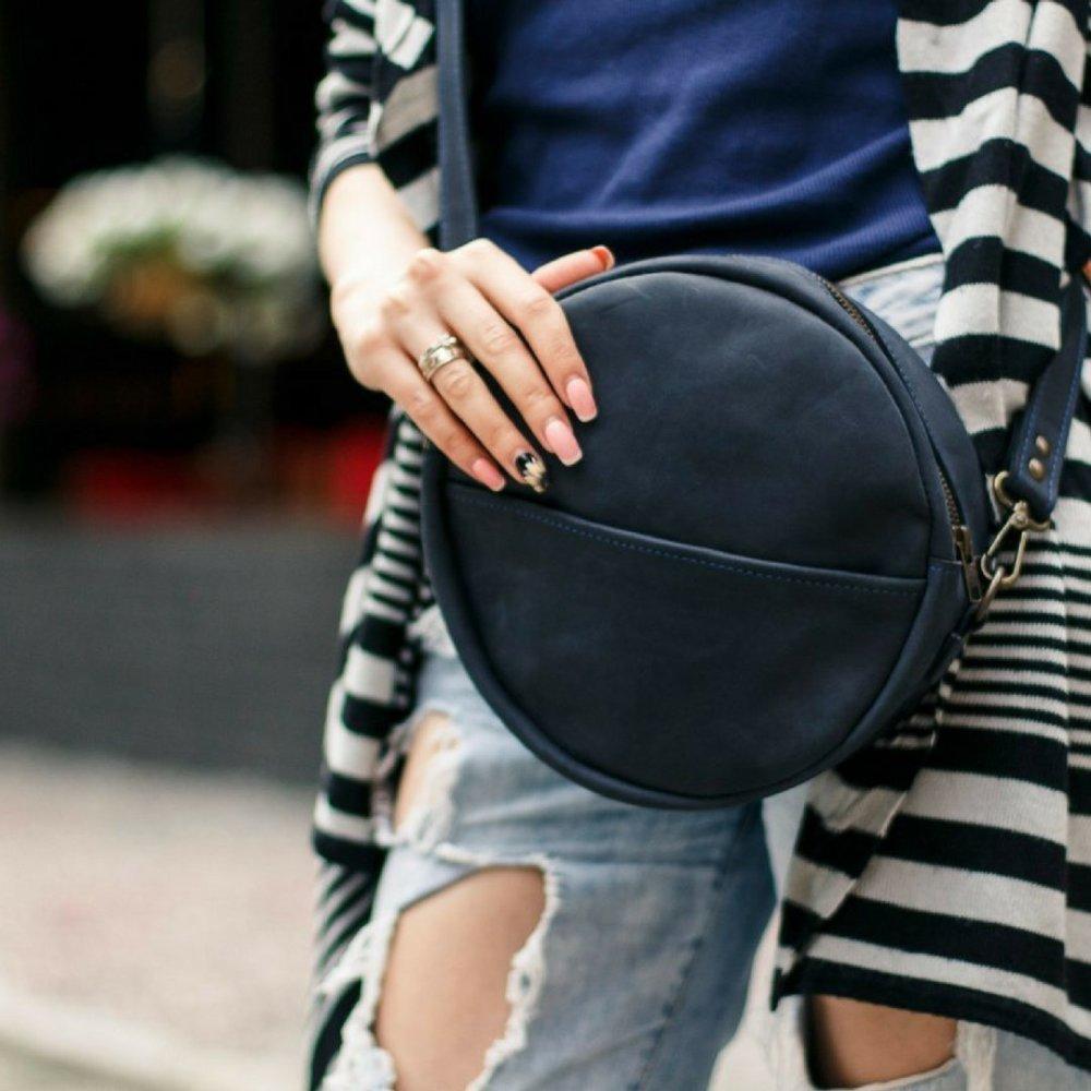 Full Grain Leather Round Bag
