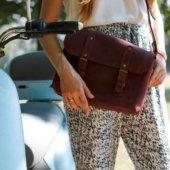 Full Grain Marsala Leather Cross Body Bag