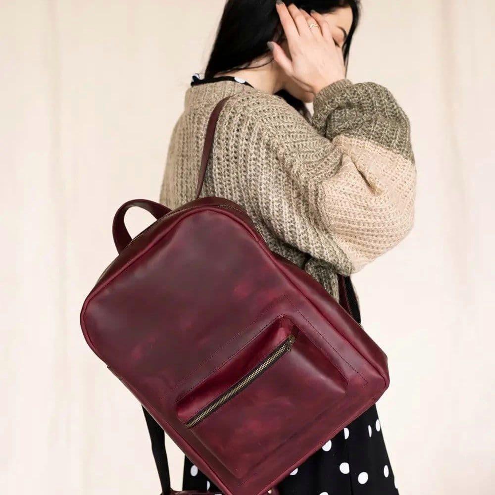 Handmade Marsala Leather Backpack
