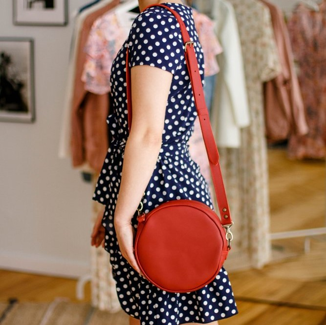 Full Grain Glossy Red Round Bag