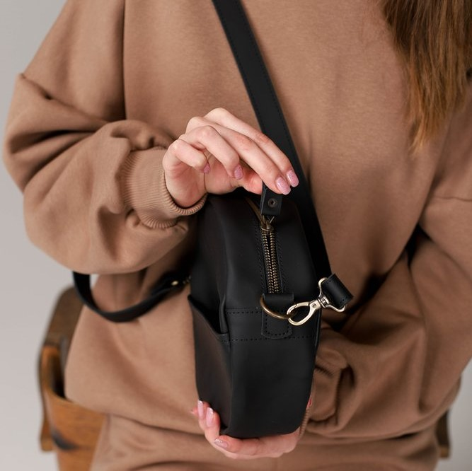 Full Grain Leather Black Round Bag