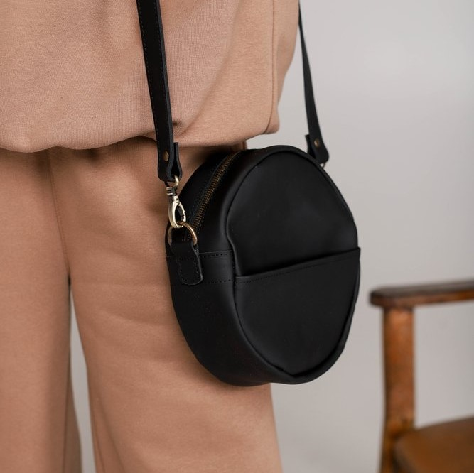 Leather Black Round Bag
