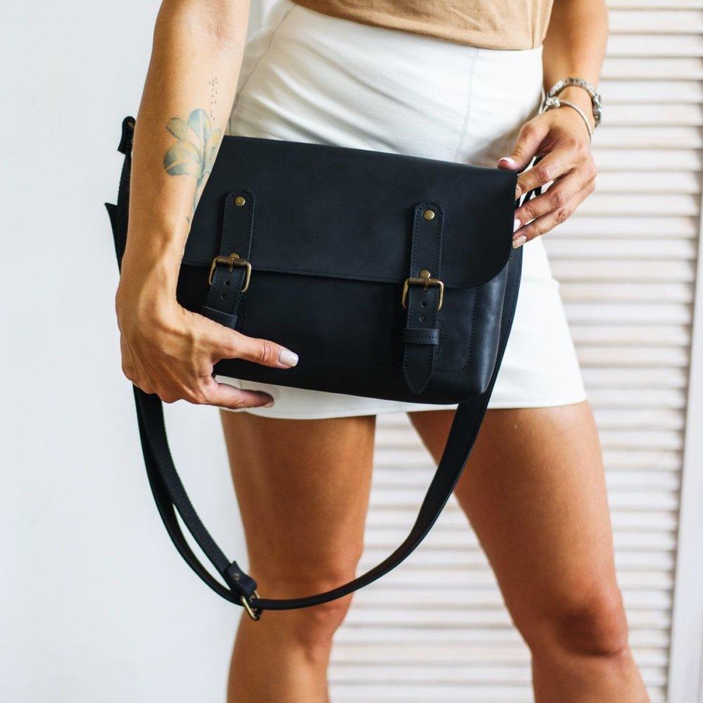 Full Grain Black Leather Cross Body Bag