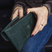 Long Green Bifold Leather Wallet