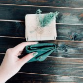 Green Leather Envelope Wallet